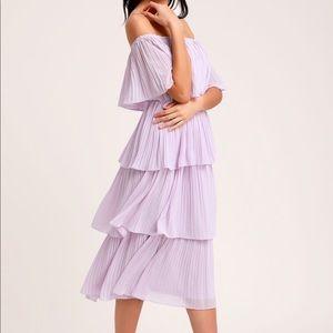 NWT! Lavender Off-the-Shoulder Ruffle Midi Dress